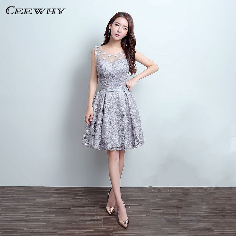 Discount Designer Dresses Cocktail: CEEWHY Gray O Neck Appliques Knee Length Lace Short Prom