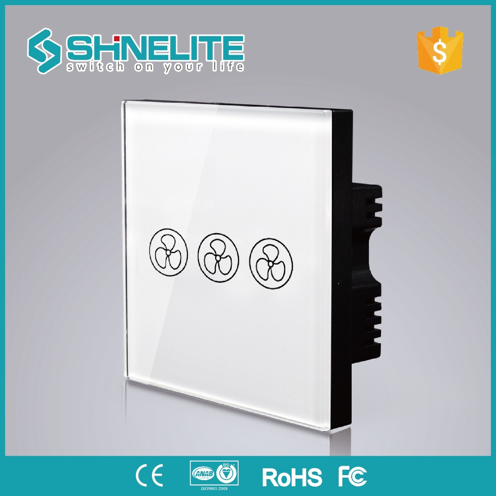 shinelite UK 3 Mode Remote Control Fan Switch,Speed Regulation,White Crystal Glass Panel, AC 110~240V Home Wall Switch luxury uk standard wireless remote control for ceiling fan crystal glass panel 600w fan speed regulation wall touch switch