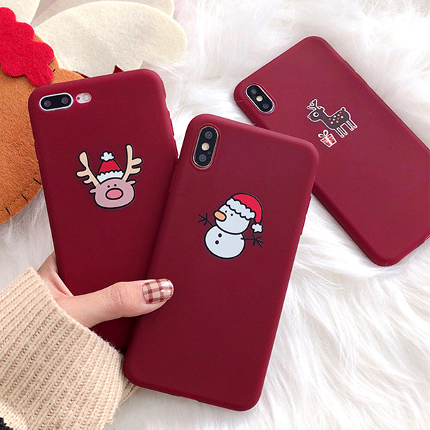 3D Cartoon Christmas Deer Santa Claus Phone Case for Apple IPhone X XS MAX XR 10 8 7 6 6S Plus 7plus 8plus Cover Cases Red