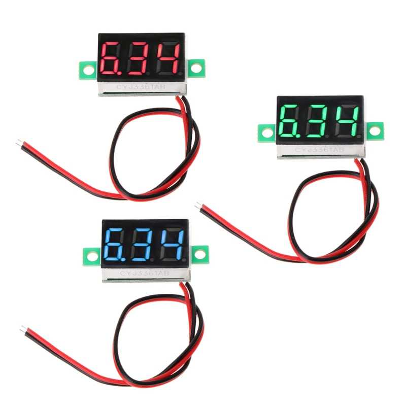 "Digital Voltmeter 0.36"" 2-wires DC 2.50 to 32.0V LED Volt Meter Voltage Gauge"