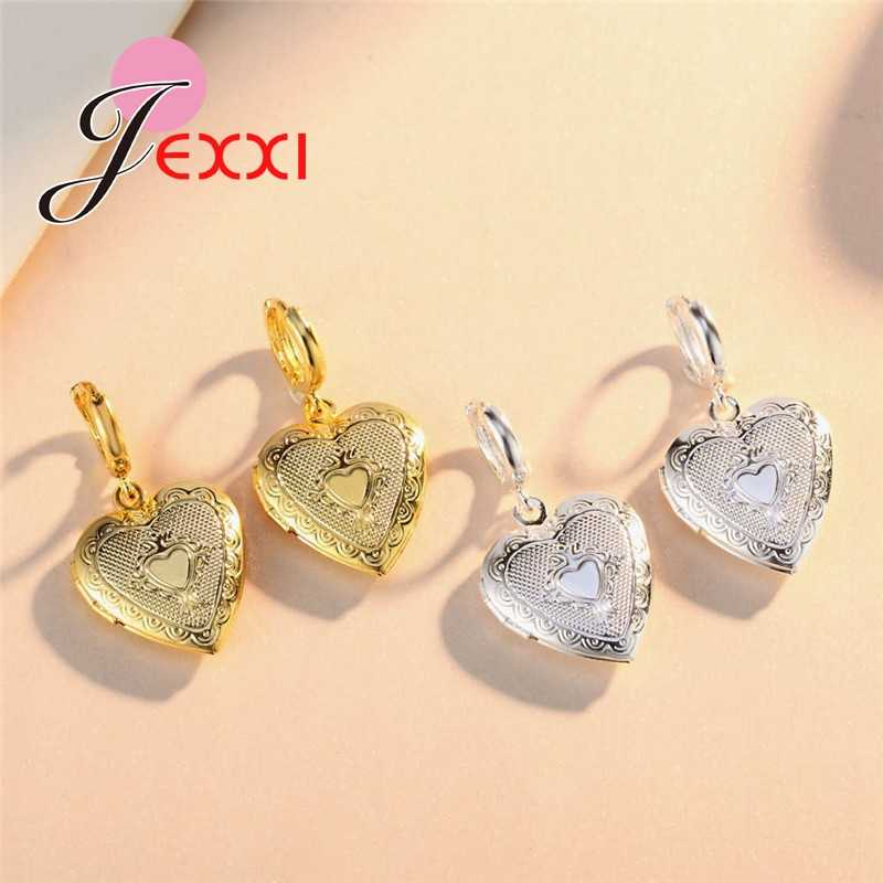 New Fashion Heart Square Photo Locket Dangle Earrings for Women Picture Frame 925 Sterling Silver Jewelry Valentine Lover Gifts