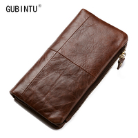 Gubintu Men Wallets Genuine Leather 2016 New Classical Vintage Style Wallet Fashion Brand Purse Long Clutch