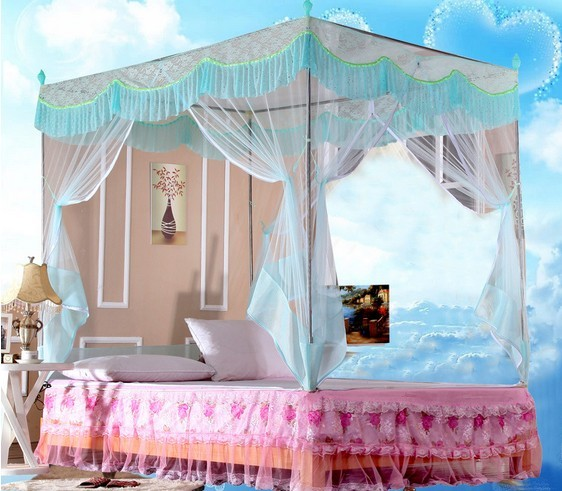 1PC Corner Post Bed Canopy Mosquito Net Full Queen King Size Bed Canopy Mosquito Net Princess Elegant Bedding Net KR 014 & 1PC Corner Post Bed Canopy Mosquito Net Full Queen King Size Bed ...