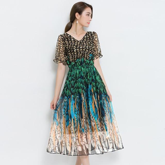 ee8635fba5df Nuovo Modo di Estate delle Donne Vestiti Con Scollo A V Increspato Maniche  Corte Vestito Chiffon Rayon