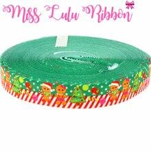 """10 ярдов 5/"""" 16 мм веселое рождественское милое печенье напечатанная эластичная лента DIY ручной работы лента для волос, MD150703-25-0961 для изготовления подарков"""