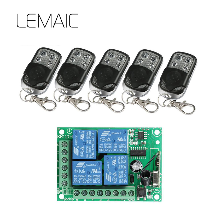 все цены на LEMAIC 433Mhz Universal Wireless Remote Control Switch DC 12V 4CH Relay Receiver Module and 5pcs RF Transmitter Remote Control