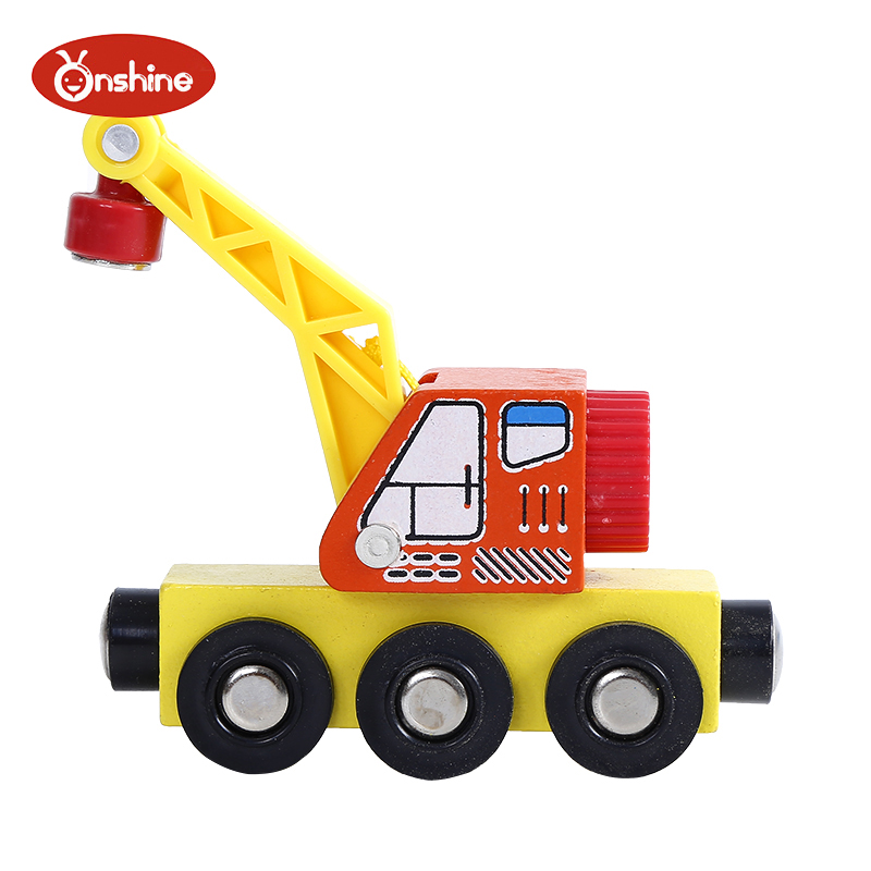 Onshine wooden with magnet crane compatible with original wooden track boy toy with locomotive suit toddler toys