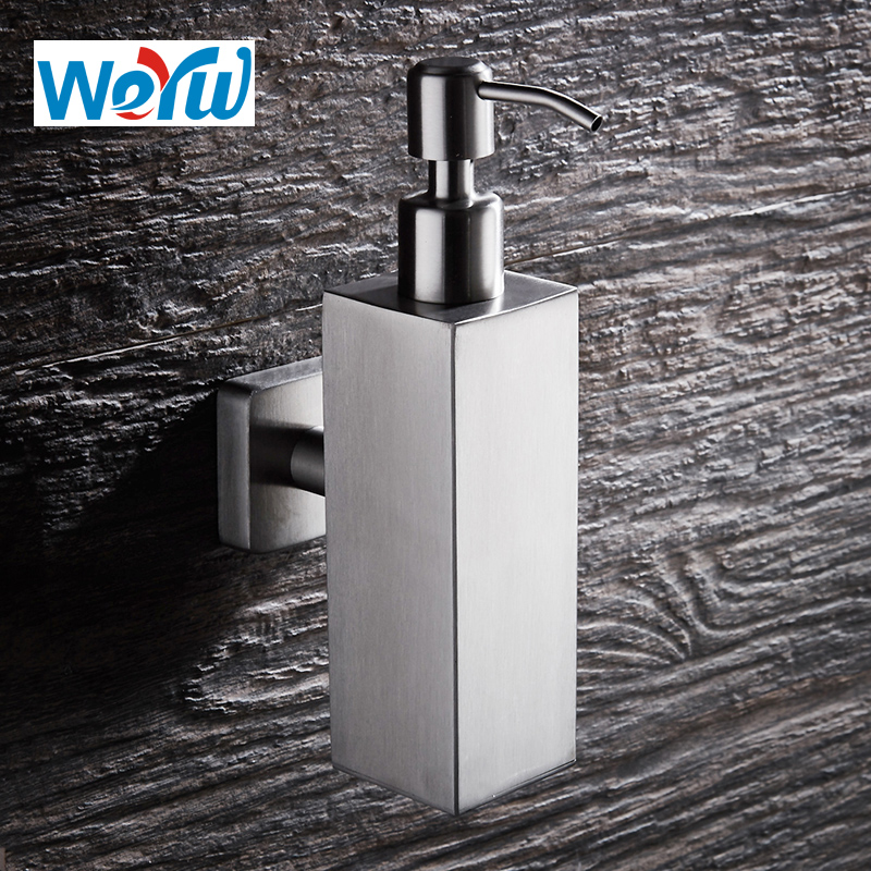 WEYUU Shampoo Soap Dispenser Stainless Steel Bottle Liquid Wall Mounted Manually Wire drawing