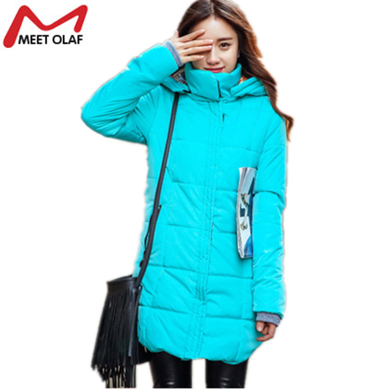 2017 Women Winter Coat Slim Long Womens Parkas Warm Jackets Thick Hooded Cotton-Padded Jacket Plus size Parka YL280