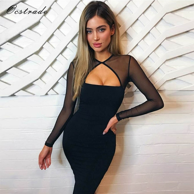 Ocstrade Knitted Autumn Mesh Long Sleeve Bodycon Dress New Year 2018 Sexy  Ladeis Black Bandage Dress 00a0a7b794c5