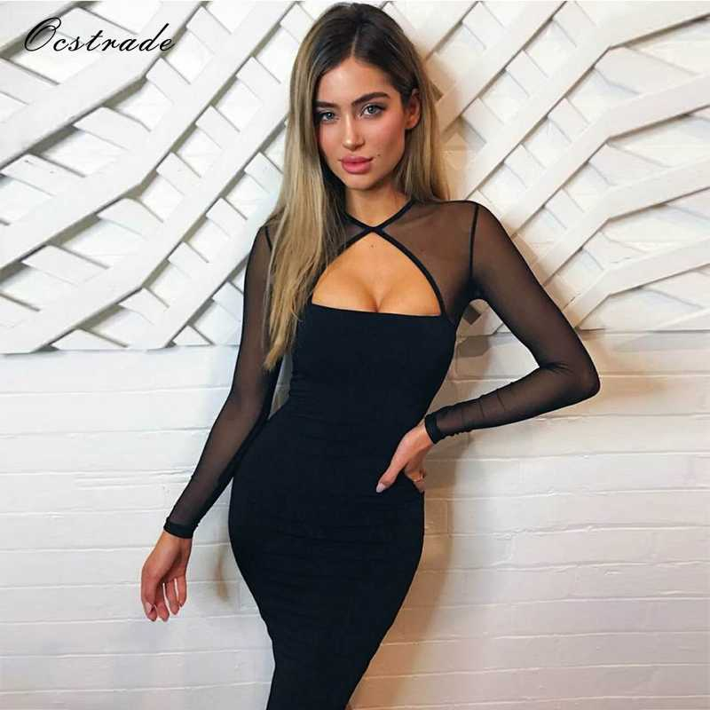 Ocstrade трикотажное осеннее Сетчатое облегающее платье с длинным рукавом, новогоднее 2019, сексуальное женское черное Бандажное платье