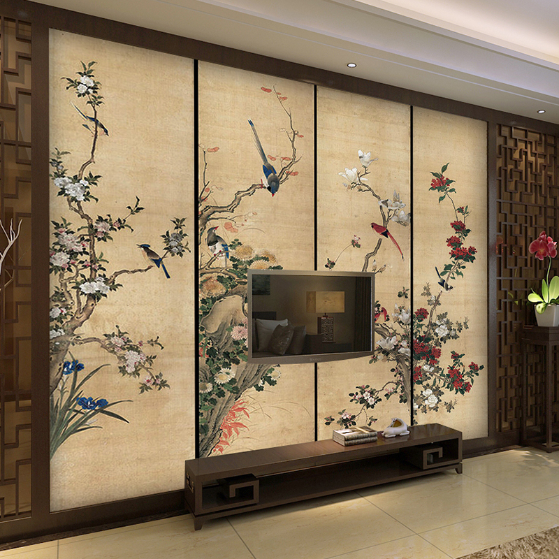 3 d Wallpaper TV wall Mural for TV background large ink flower and bird frescos Chinese retro style wallpapers for living room free shipping chinese ink classical retro wallpaper mural living room tv room wallpaper
