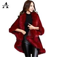 Faux Fur Coat New Winter Luxury Fashion Faux Fox Fur Poncho Bat Sleeve Long Plaid Knitted Cardigan Shawl Cape Cashmere Coat