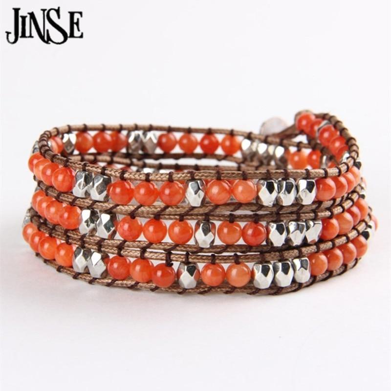 JINSE Handmade Braid Nation Style Natural Crystal Colour Stone Cuff Bracelets Sliver Geometric CCB Couple Charms Bracelet WPB027