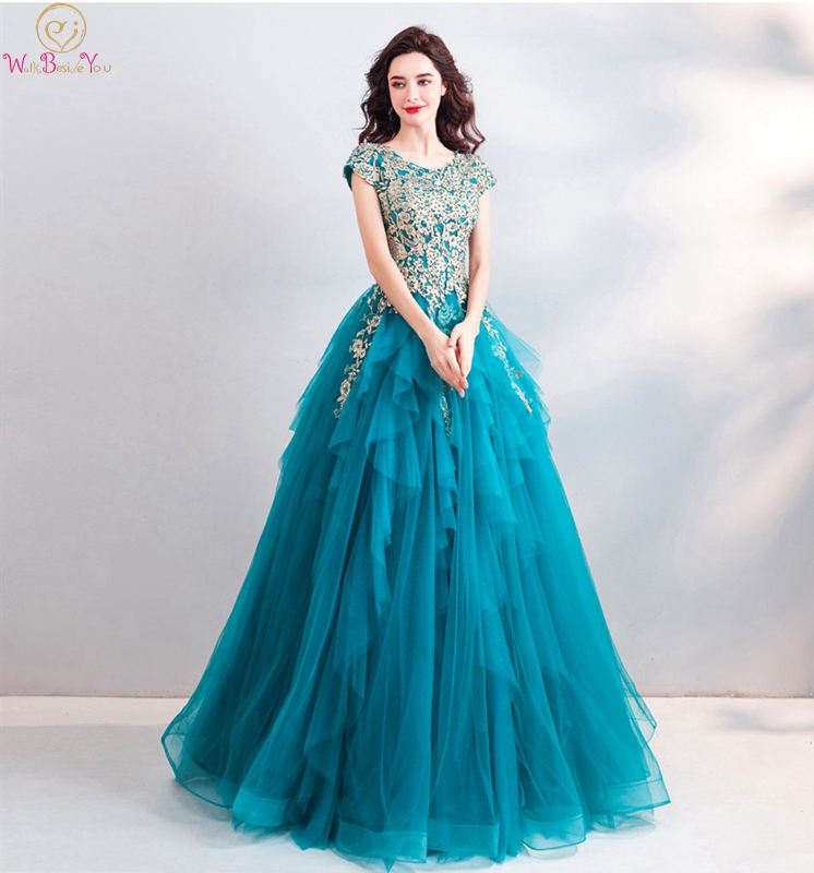 2019 Newest Prom Dress Short Sleeves V-neck Tiered Tulle With Beading Appliques Ball Gown Lace-up Floor Length Evening Dresses