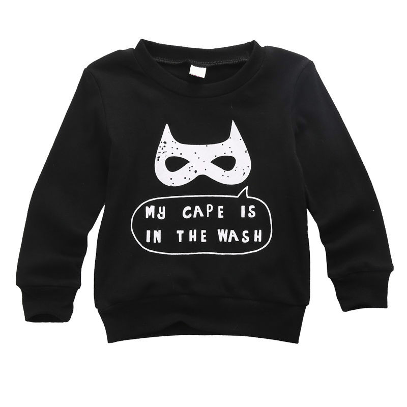 HOT 2017 Autumn Cartoon Print Child Kids Baby Boy Casual Clothes Tops Long Sleeve Jumper Cool Black Sweatshirt Cotton