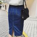 2016 Del Verano de Mezclilla Faldas de Cintura Alta una Palabra Falda de Las Mujeres Solo pecho Jupe Longue Saias Jeans Paquete Cadera Delgada Jupe Femme Marea