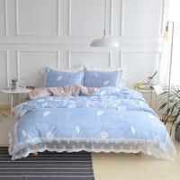 Verano de la manera ropa de cama de hojas juego de cama queen completa solo XL tamaño de encaje plaid funda nórdica sábana almohada casos 4 unids conjuntos
