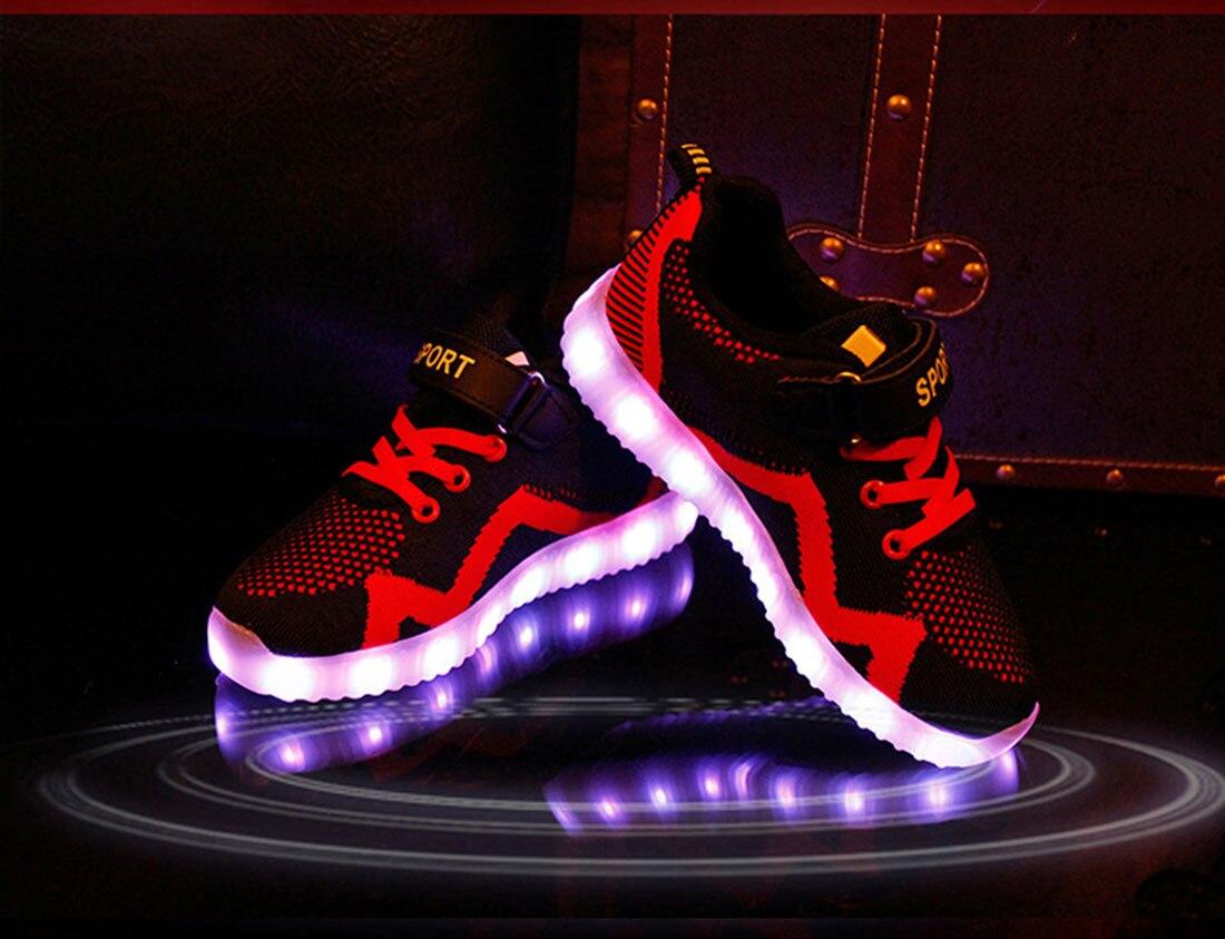 2017 Baru Anak Laki Perempuan Usb Charger Led Light Sepatu Model Jaring Sneakers Unisex Olahraga Kasual Bernapas Di