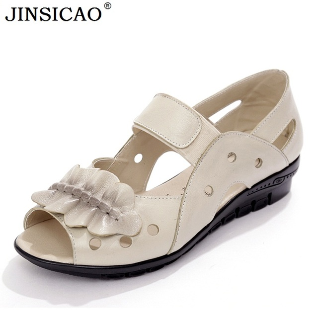 385aaa006b6f Summer Genuine Leather Ladies Fashion Flat Sandals Hollow Open Toe Women  Sandals Soft Comfortable Casual Women Shoes