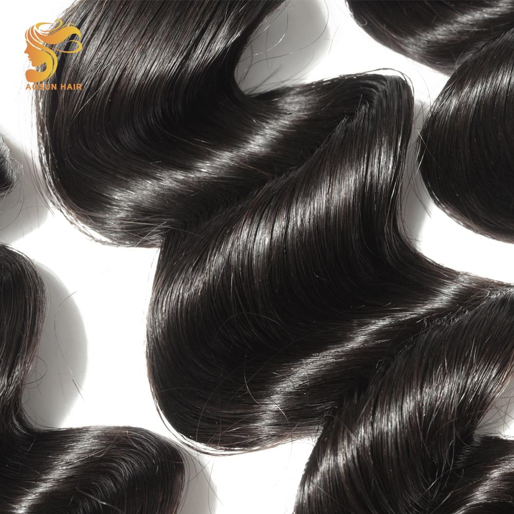 AOSUN HAIR 3 Bundles Brazilian Loose Wave with Lace Closure 100% Human Hair Bundles With Closure Remy Hair Weave