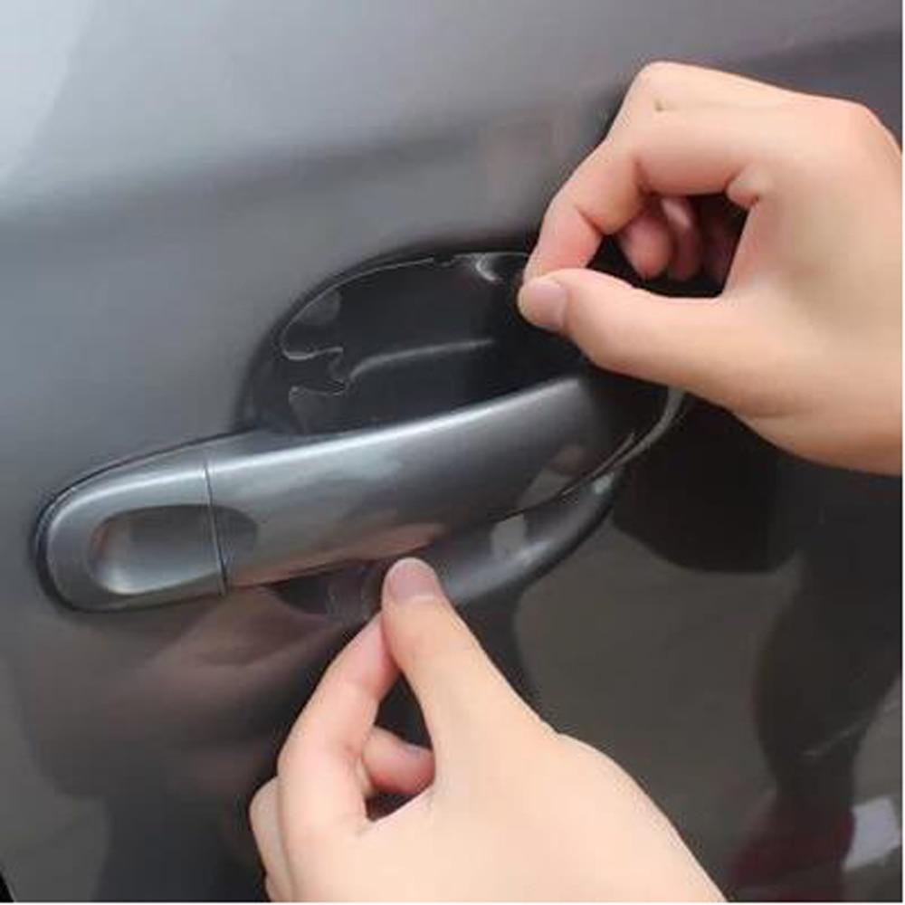 4 Set Universal Car Door Cup Handle Film Scratch Protector Vinyl UV Resistant LR