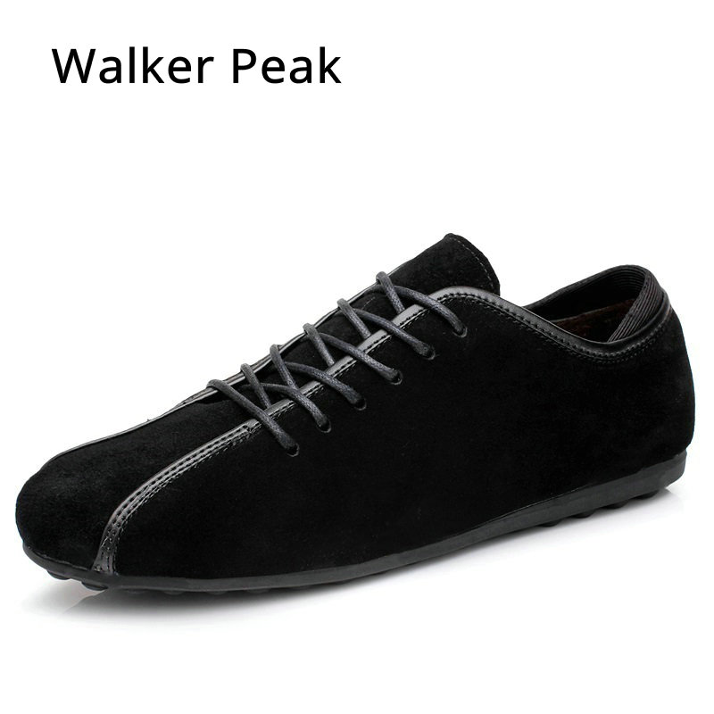 New Nubuck Leather Shoes for Men Autumn Winter Men Casual Shoes Fashion Lace up Driving Shoes Flats shoes zapatillas Walker Peak