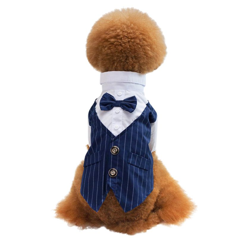 S-XXL Pet Dog Cat Puppy Wedding Suit Striped T Shirt Formal Clothes Costume Formal Shirt
