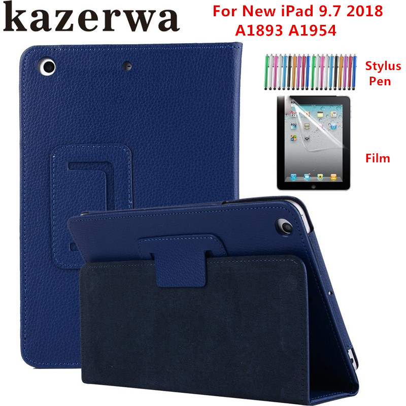 Folding Folio Stand Case For Apple New iPad 9.7 2018 Case Cover Funda Tablet A1893 A1954 PU Leather Smart Case +Stylus+film