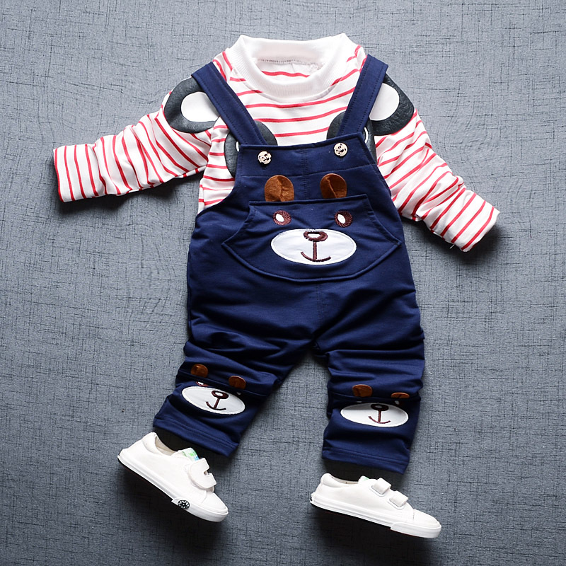 Spring Clothing Set Girls Boys infantil Bebe Cotton Striped Bear T shirts Overalls Pants Two Pieces