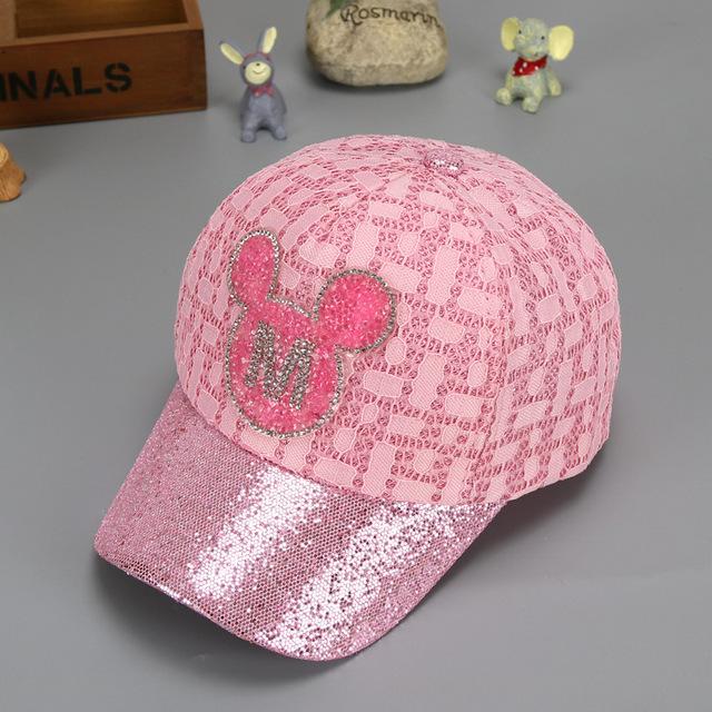 Girl's Glitter Mickey Cartoon Lace Baseball Cap