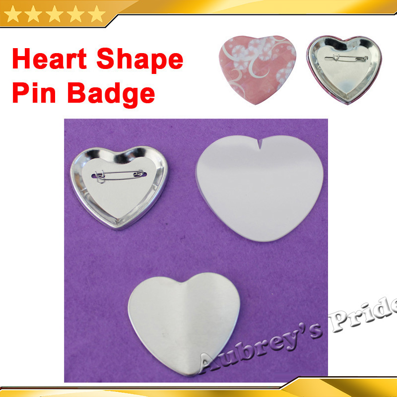 Heart Shape 57x52mm Blank 100 Sets Pin Back Metal Button Supply Materials For Professional All Steel Badge Button Maker Holder