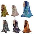 2017 muslim Caps Silk scarf hijab shawl Islamic Muslim Women's Head Scarf silk Underscarf Hijab Cover turban plaid colour Bonnet
