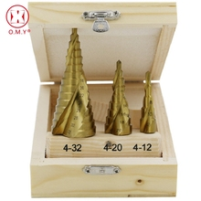OMY Large Step Cone HSS Steel Spiral Grooved Drill Bit Hole Cutter Cut Tool 4-12/20/32mm with Wood Box 3pcs/Set