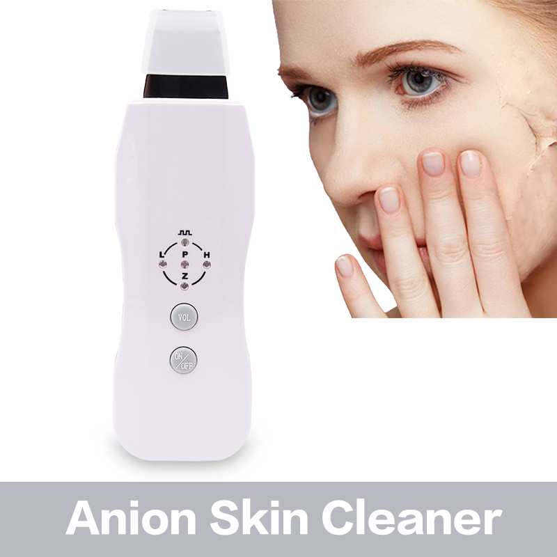 Ultrasonic Skin Scrubber Skin Cleaner Anion Ultrasound Facial Ultrasonic Face Skin Peeling Massage Face Cleaner Scrubber Tools rechargeable spa portable ultrasonic anion facial peeling rejuvenation skin scrubber free shipping