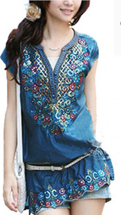 Summer trend 2014 national shirt embroidery small stand for Small collar dress shirt