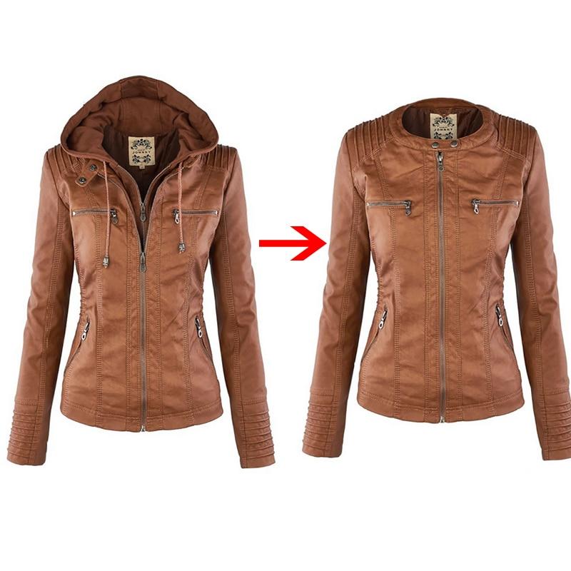Casual Basic Winter Faux Leather Jackets Women Plus Size Ladies Coats Waterproof