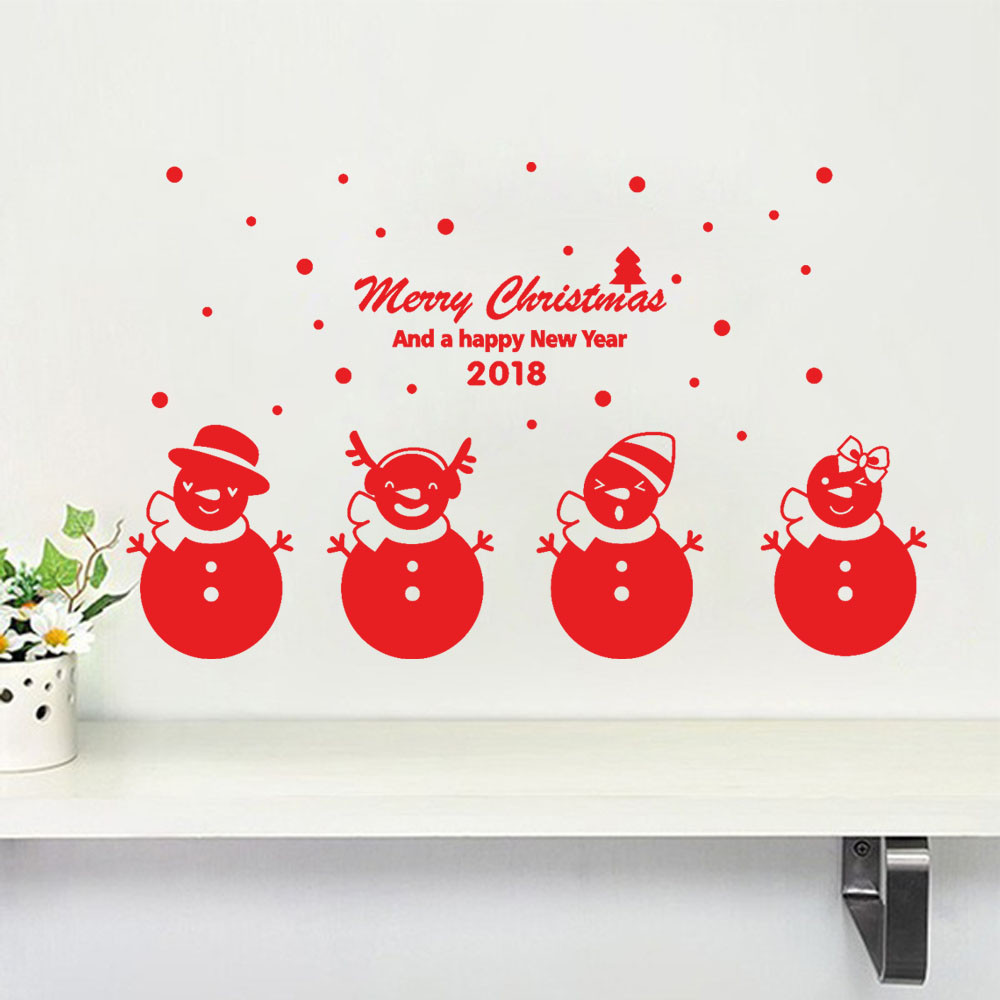 buy hot sale new year wall stickers 2018 merry christmas wall sticker christmas. Black Bedroom Furniture Sets. Home Design Ideas