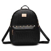 Новинка 2016 года Вязание небольшие рюкзаки женские заклепки PU кожаные рюкзаки для девочек-подростков путешествия опрятный Школьные сумки мода Mochila