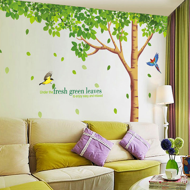 US $16 86 15% OFF|Free shipping 310x204cm big size extra large wall decals  fresh green leaves plant tree home decor wall stickers mural art-in Wall