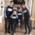 Семьи способа весной джинсовой лоскутное 2017 фуфайка усики семья установить одежду для матери и дочери