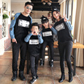 Family fashion spring denim patchwork 2017 sweatshirt tendrils family set clothes for mother and daughter
