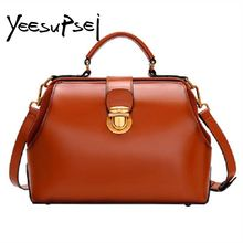 купить YeeSupSei  Women Genuine Leather Handbag Vintage Hasp Doctor Totes Female Bucket Shoulder Bag Women Working Shopping Handbag дешево
