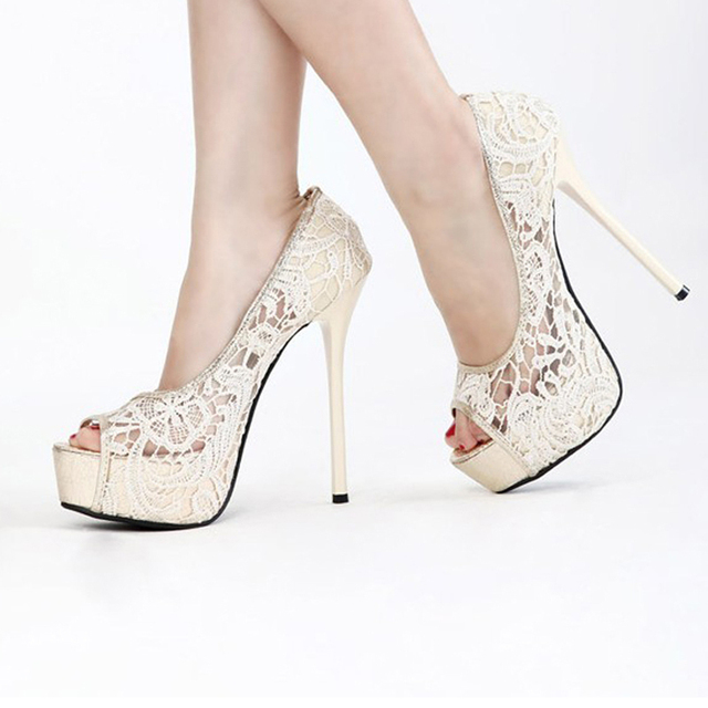 Sweetness Lace 14cm High Heel Shoes Wedding Bridal Shoes Peep Toe Net Pumps  Gown prom Shoes Summer Sandal Free Shipping e8b22c0d39aa