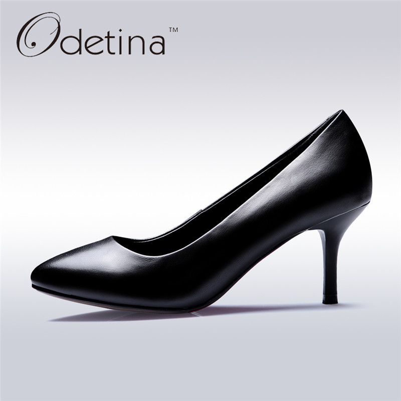 Odetina 2017 Genuine Leather New Ladies Dress Pumps Black Stiletto Heel Women Office Pump Work Shoes Pointed Toe Thin High Heels burgundy gray saphire blue pink women dress party career work shoes flock shallow mouth stiletto thin high heel pumps