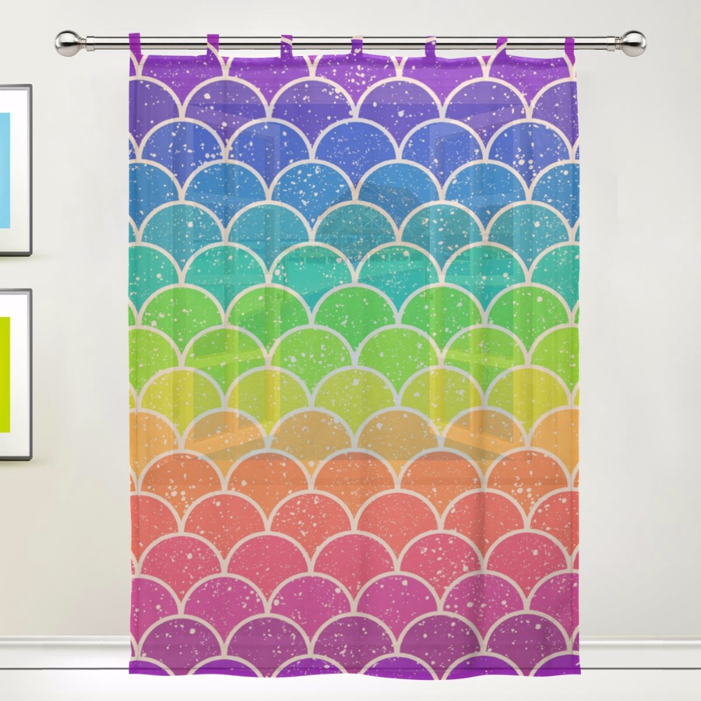Rainbow Chevron Pattern Pattern Floral Print Tulle Voile Door Window Room  Sheer Curtain Gauze Curtain For