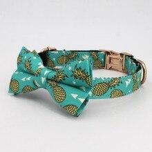 Ананас ошейник галстук-бабочка, выгравированное имя и тел Регулируемый Собачий Ошейник Custom pet собака ожерелье с кошкой