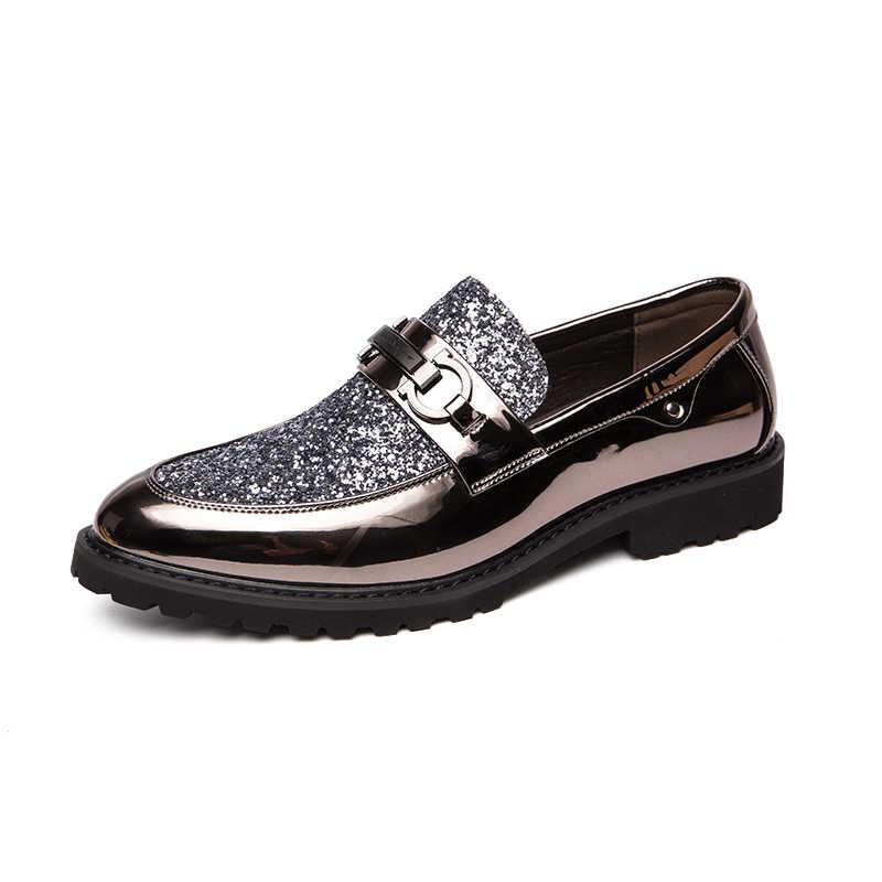 2019 erkekler elbise loafer'lar İş düğün marka erkek ayakkabısı nefes tarzı ziyafet payet altın siyah erkek ayakkabı Chaussure Homme