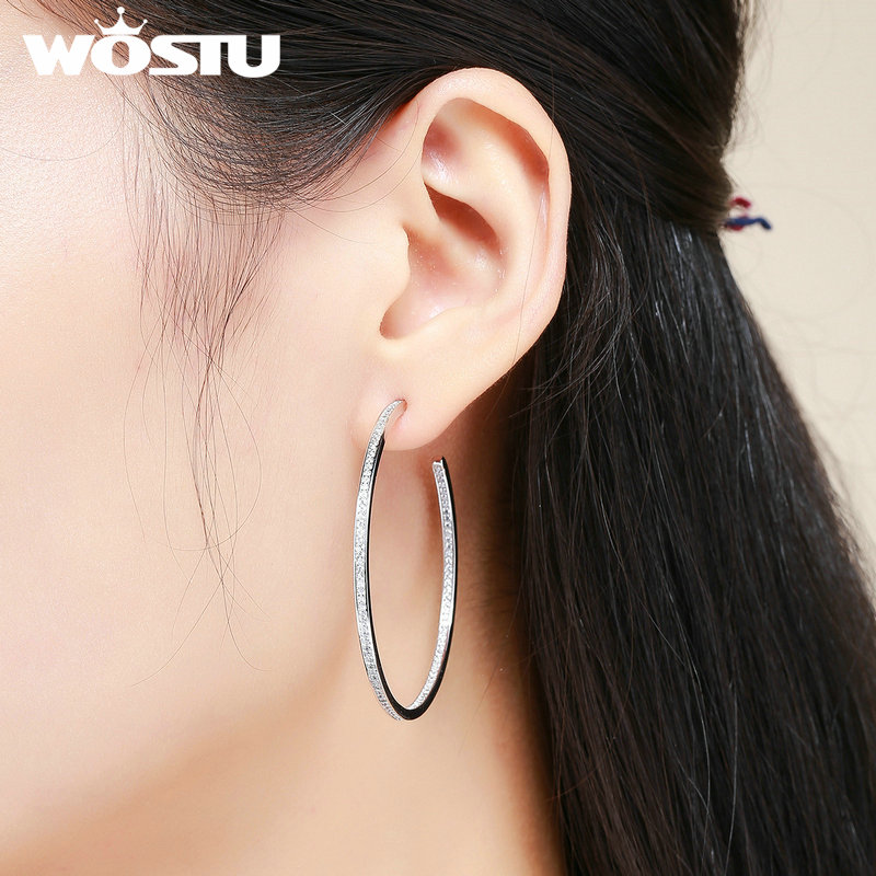 WOSTU Brand High Quality Dazzling CZ Big Hoop Earrings For Women White Gold Color Fashion Jewelry Brincos Gift XCNE115WOSTU Brand High Quality Dazzling CZ Big Hoop Earrings For Women White Gold Color Fashion Jewelry Brincos Gift XCNE115