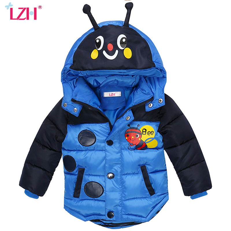 LZH Baby Boys Jacket 2017 Winter Jacket For Boys Bees Hooded Down Jacket Kids Warm Outerwear